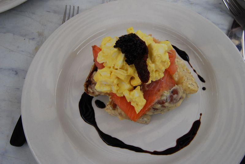 Smoked salmon scrambled egg mayonnaise salad