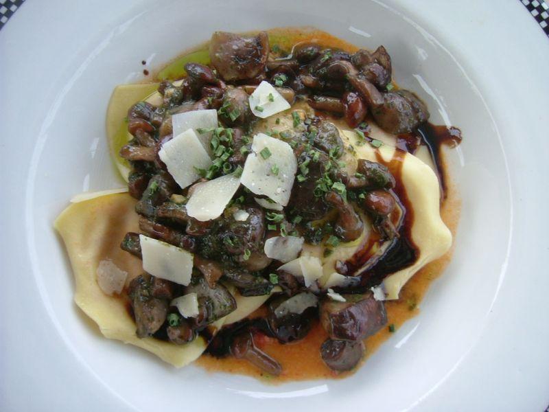 Wild mushroom open ravioli