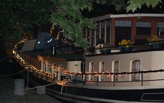 """Aurigy - Moored with us in Toulouse Pond where we watch """"the wedding"""" in style with Peter and Nicky"""