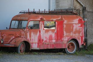An old, precious, fire engine.Hope we don't have an emergency