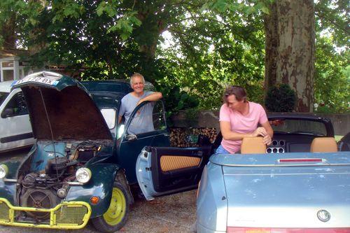 Brendan and Keld's car - flat battery.