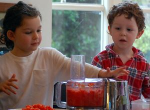 Charlie and Max, making spicey chutney at home