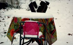Winter picnic table