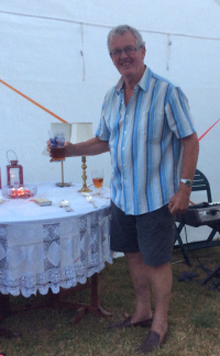 "Brother Rob - 80 today! Drinking Yorkshire bitter, (""ship's grog"") made in France"