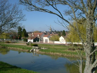 View of Briare church across the old canal